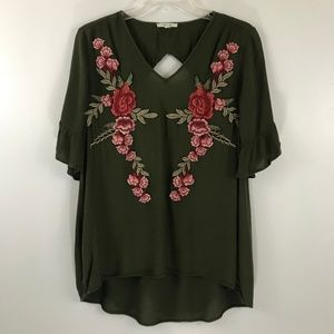 Pleione Olive Green Rose Patch Bell Sleeve Top XS